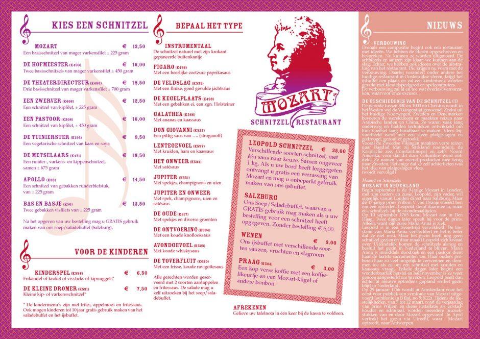 Mozart Schnitzelrestaurant placemat