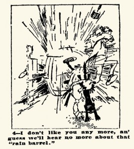 cartoondeel ter illustratie van lied 'Atlanta Constitution' uit 1895 - bij een regenton overtuigingen