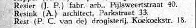 Resink in Adresboek Utrecht 1940