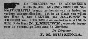 Krantbericht rond 1870