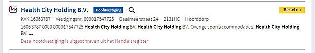 1 miljard voor Basic Fit - KVK inschrijving Health City Holding