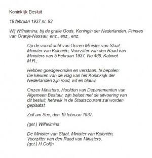 Konink besluit 1937 over de Nederlandse vlag