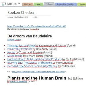 OneNote notitie over droom van Baudelaire