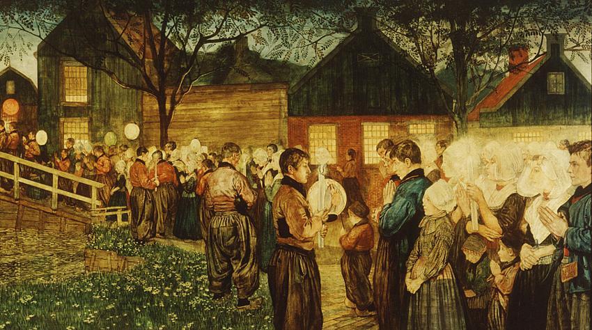 Volendammers in Processie (deel van schilderij)