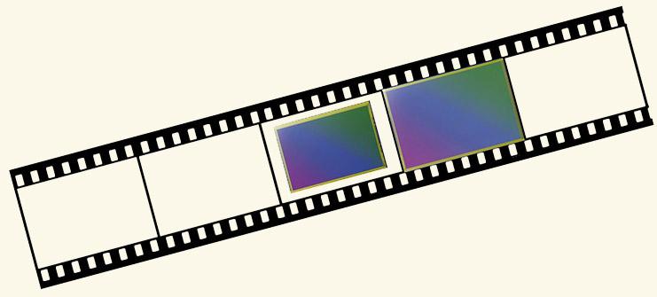 Negatiefstrip met full-frame en crop sensor