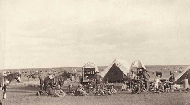 Cowboys in 1887 in South-Dakota