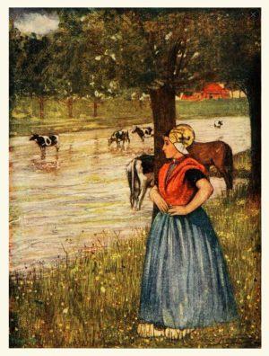 Nico Jungmann - Meisje met koeien