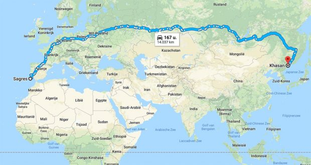 de langste route met de auto