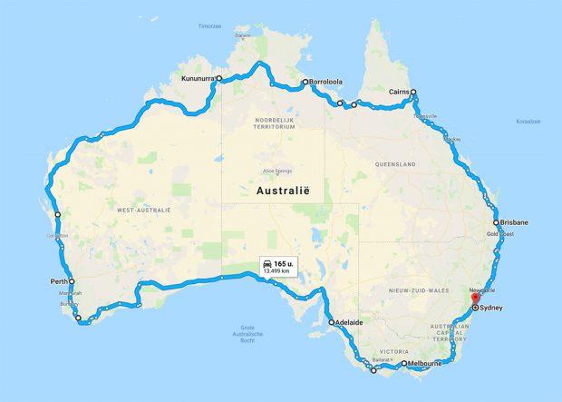 De langste route met de auto langs kust Australië