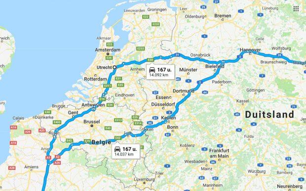 De langste route met de auto (via Utrecht)