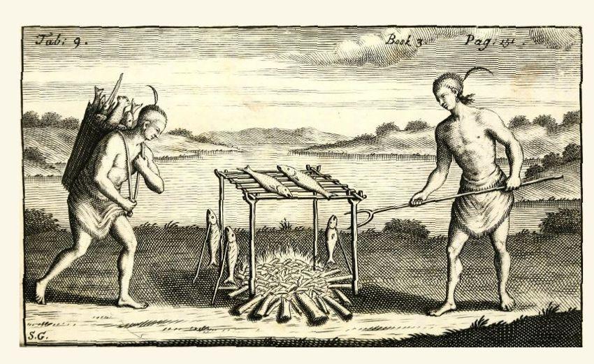 Barbecue - tekening naar Theodoor de Bry