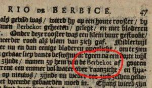 Barbecue als berbekot in boek Adriaan van Arkel 1695