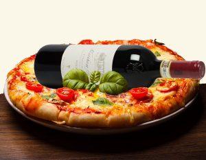 pizza met wijn