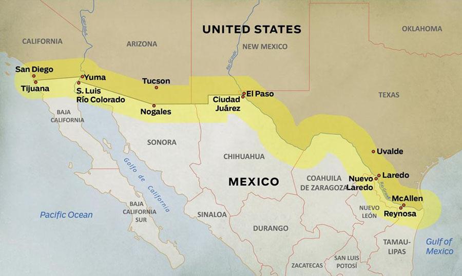 Zuidelijke grens tussen Amerika en Mexico