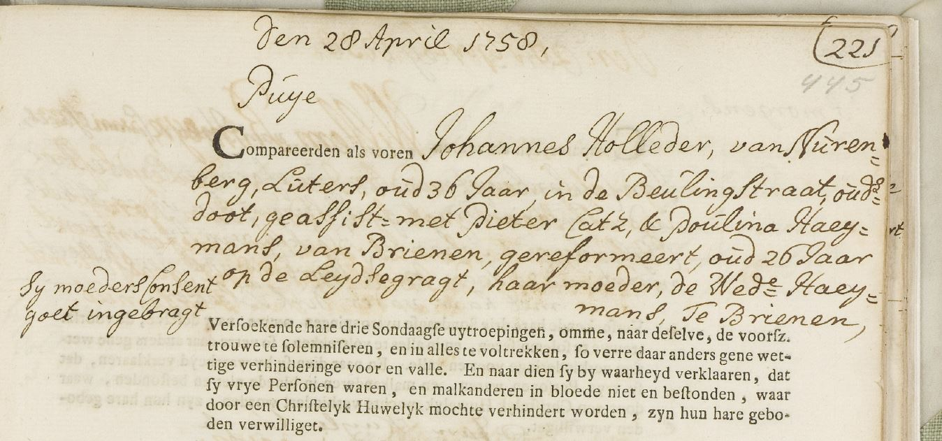 Willem Holleeder - trouwakte over5x-grootvader