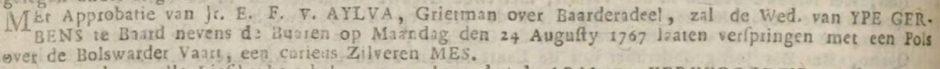 Fierljeppen in krant 1767