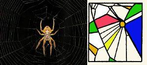 spinnen met psychedelische kunst