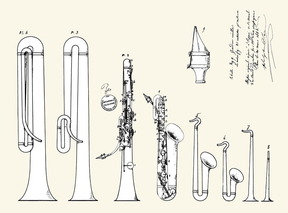 Saxofoon patent, van Adolphe Sax